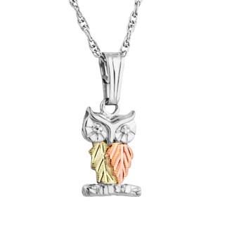 Black Hills 12k Tri-color Gold over Silver Owl Pendant