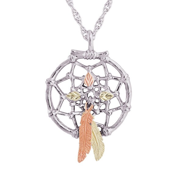 Black Hills 12k Tri-color Gold over Silver Dreamcatcher Pendant