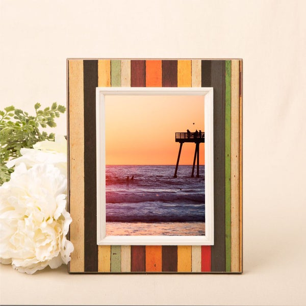 "Distressed wood look vertical striped frame for 8"" x 10"" photo"