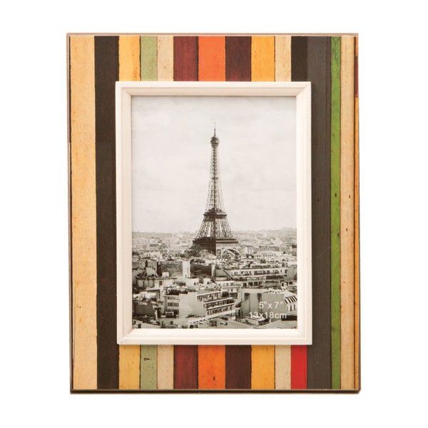 Distressed Wood Look Vertical Striped 5 x 7 Photo Frame