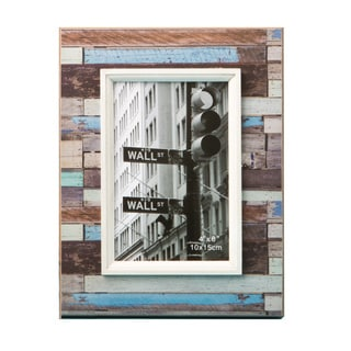 Distressed Wood Look Horizontal Striped 4 x 6 Photo Frame