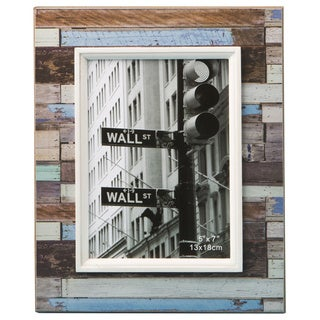 Distressed Wood Look Horizontal Striped 5 x 7 Photo Frame