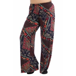 24/7 Comfort Apparel Women's Plus Size Abstract Quilt Floral Printed Palazzo Pants