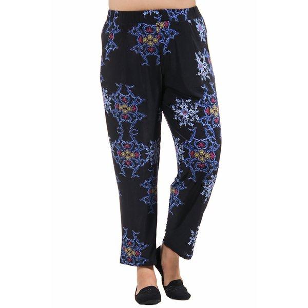 24/7 Comfort Apparel Women's Plus Size Blue&Black Fall Floral Printed Pants