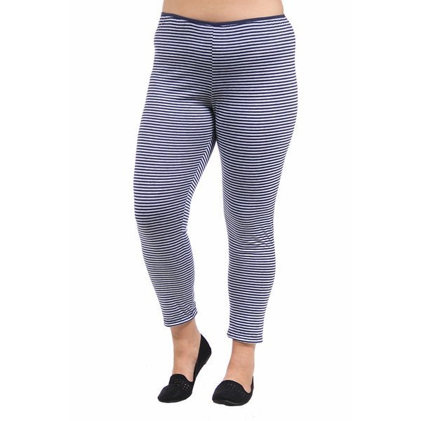 24/7 Comfort Apparel Women's Plus Size Navy/Grey Stripped Leggings