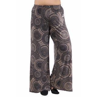 24/7 Comfort Apparel Women's Plus Size Cream&Black Oriental Patterned Palazzo Pants