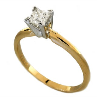 14k Yellow Gold 1/2ct TDW Certified Diamond Princess Solitaire Engagement Ring