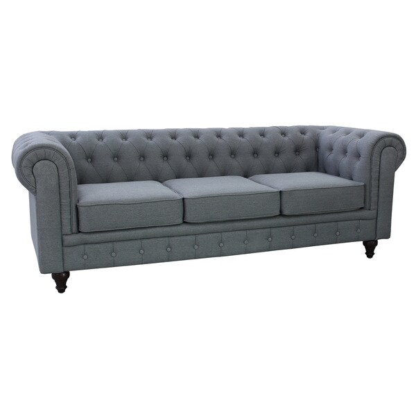 Grace Grey Linen Fabric Chesterfield Sofa