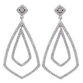 Sterling Silver Cubic Zirconia Geometric Teardrop Dangle Earrings