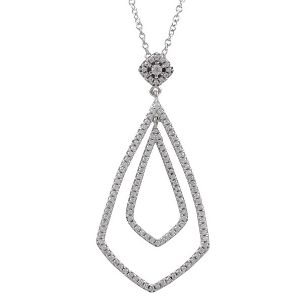 Sterling Silver Cubic Zirconia Geometric Teardrop Pendant Necklace