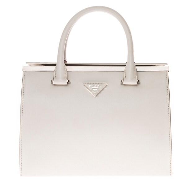 Prada White Leather City Calf Tote Bag