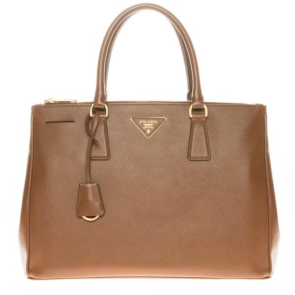 Prada Tan Saffiano Lux Executive Tote Bag