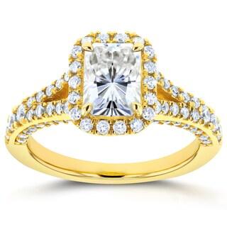 Annello 14k Yellow Gold Radiant Moissanite and 5/8ct TDW Diamond Halo Split Shank Ring (G-H, I1-I2)
