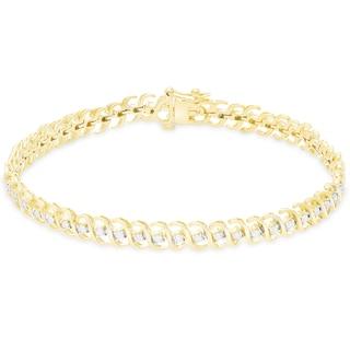 Finesque Sterling Silver 1/4ct TDW Diamond S-Link Bracelet (I-J, I2-I3)