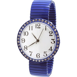 Women's Royal Blue Stainless Steel Stretch Band Watch with Crystal Accents