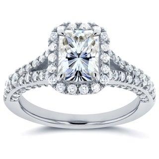 Annello 14k White Gold Radiant Moissanite and 5/8ct TDW Diamond Halo Split Shank Ring (G-H, I1-I2)