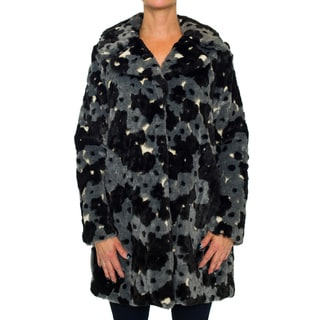 Betsey Johnson Women's Floral Faux Fur Coat
