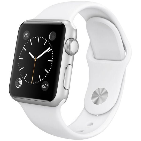 Apple Watch Sport Smartwatch (38mm, Silver Aluminum, White Band)