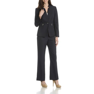 Tahari Arthur S. Levine Women's Black Inverted Collar 2-Piece Pant Suit