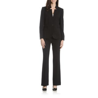 Tahari Arthur S. Levine Women's Black and Grey Inverted Collar 2-Piece Pant Suit