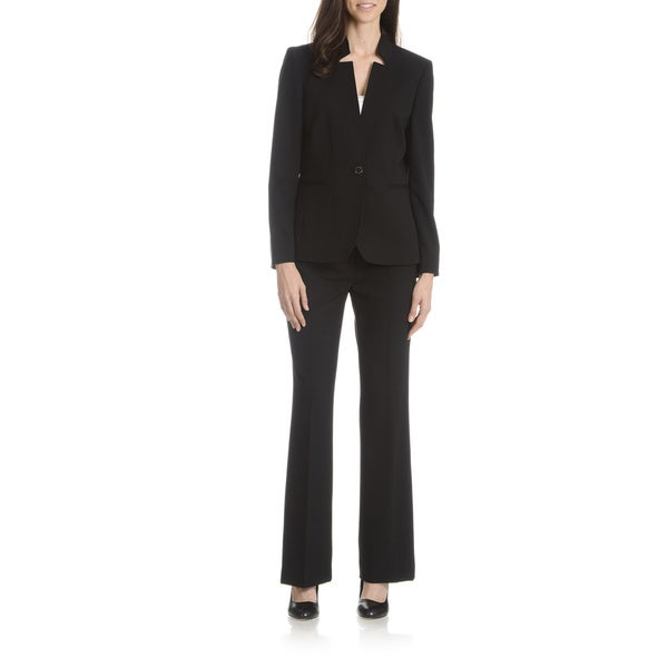 Tahari Arthur S. Levine Women's Black and Grey Inverted Collar 2-Piece Pant Suit Size 4 in Black (As Is Item)