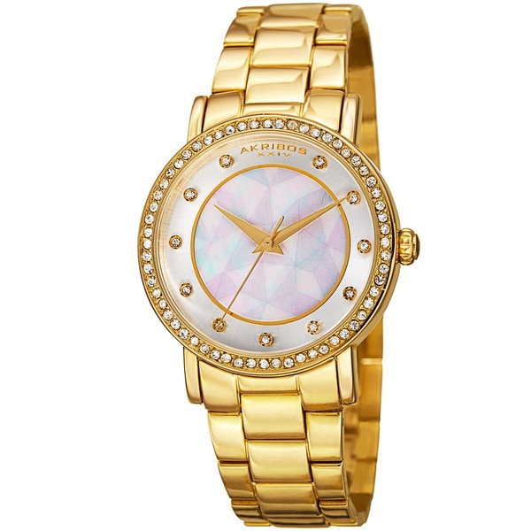 Akribos XXIV Women's Mosaic Printed Dial Quartz Crystal-Accented Gold-Tone Bracelet Watch - Gold 16594456