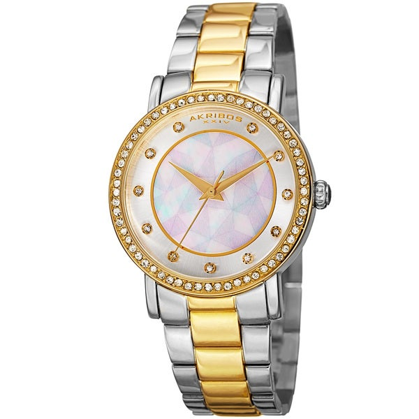 Akribos XXIV Women's Mosaic Printed Dial Quartz Crystal-Accented Two-Tone Bracelet Watch 16594457