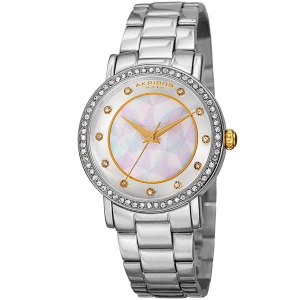Akribos XXIV Women's Mosaic Printed Dial Quartz Crystal-Accented Silver-Tone Bracelet Watch - Silver 16594458