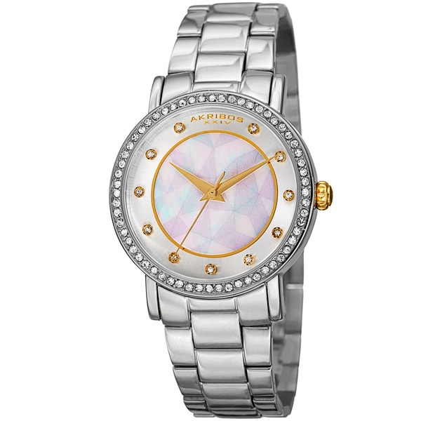 Akribos XXIV Women's Mosaic Printed Dial Quartz Crystal-Accented Silver-Tone Bracelet Watch with GIFT BOX - Silver 16594458