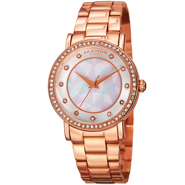 Akribos XXIV Women's Mosaic Printed Dial Quartz Crystal-Accented Rose-Tone Bracelet Watch - Pink 16594459