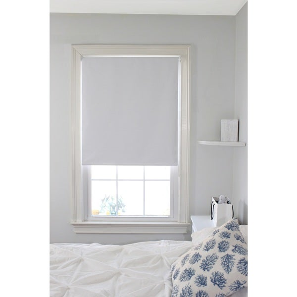 Lewis Hyman White Blackout Thermal Fabric Roller Shade (As Is Item)