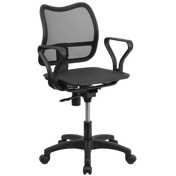 Mid-back Black Mesh Swivel Task Chair with Loop Arms