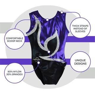 Obersee Kid's Anya Black Purple Gymnastics Leotard