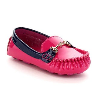 VIA PINKY EMMY-04B Children Girl Slide On Moccasin Top Flat Loafers