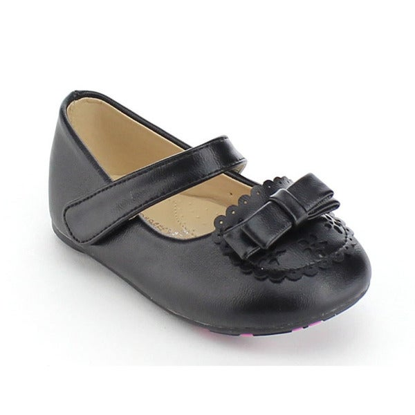 VIA PINKY CICI-03B Children Girl Bow Deco Ankle Strap Flat Loafers