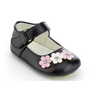 VIA PINKY CICI-01B Children Girl Rhinestone Deco Ankle Strap Flat Loafer