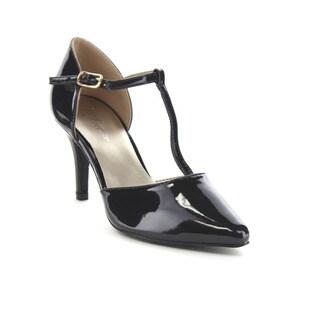 FOREVER FEW14 Women's Chic Sparkle T-Strap Mid Heel Dress Sandals