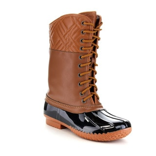 FOREVER FEW23 Women's Diamond Shape Quilted Deco Lace Up Waterproof Duck Boots