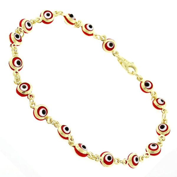 14k Yellow Gold Childrens 4mm Red Evil Eye Good Luck Bracelet