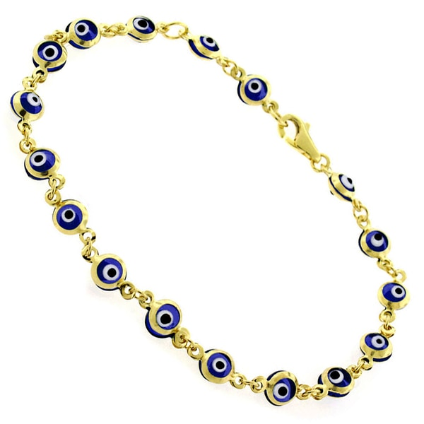 14k Yellow Gold Childrens 4mm Dark Blue Evil Eye Good Luck Bracelet