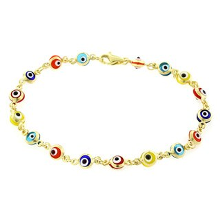 14k Yellow Gold Babies 4mm Multi Color Evil Eye Good Luck Bracelet