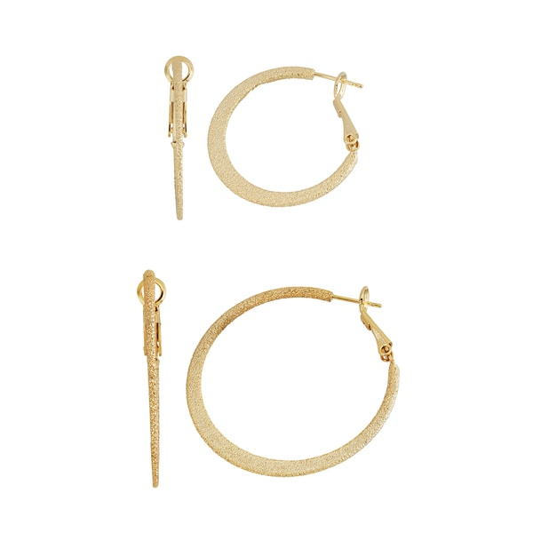 Isla Simone- SILVER & GOLD TEXTURED FLAT HOOP - 30MM/40MM