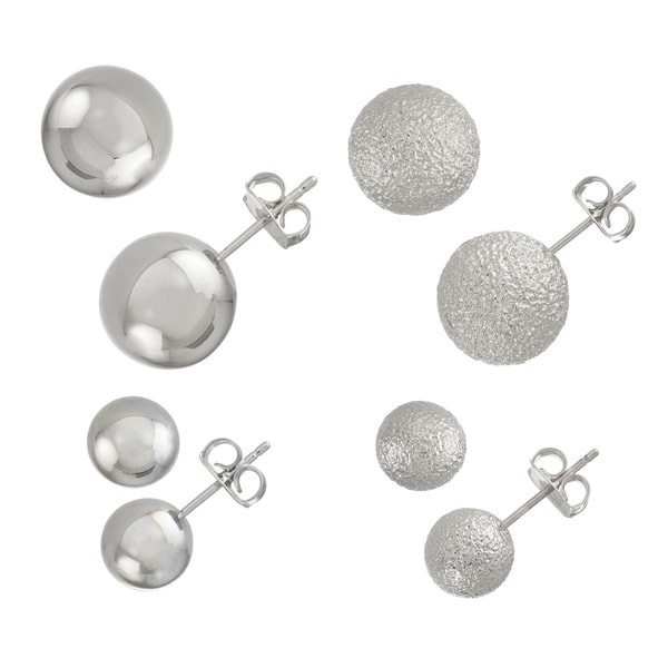 Isla Simone- SIL SHINY STUD 8MM/12MM, SILVER TEXT. STUD 8MM/12MM