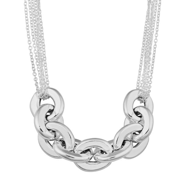 Argento Italia Sterling Silver Oval Link and Multi Strand Adjustable Length Cable Necklace