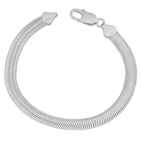 Argento Italia Sterling Silver 6.4-mm High Polish Snake Chain Bracelet (7.5 inches)