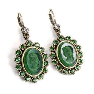 Sweet Romance Brown Pewter Green Intaglio & Crystal Earrings