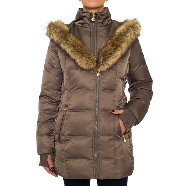 Betsey Johnson Lux Faux Fur Puffer Coat