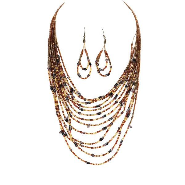 Multi-Strand Layered Metal Lucite and Glass Bead 26-Inch Necklace Set 16595653