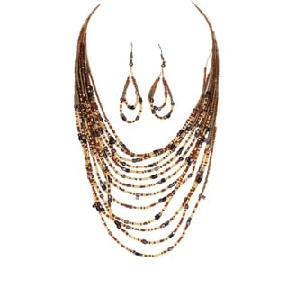 Multi-Strand Layered Metal Lucite and Glass Bead 26-Inch Necklace Set