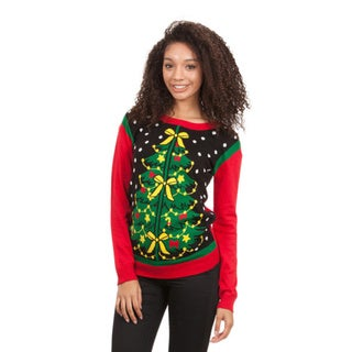 Junior Christmas Lighted Tree Crew Neck Sweater